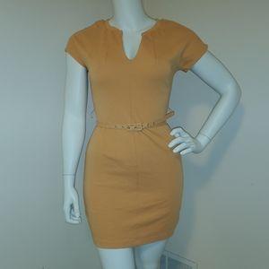 Golden soft form fitting mini dress